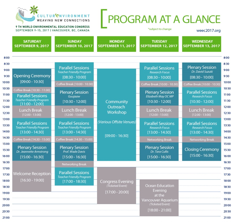 WEEC 2017 - Program at a Glance